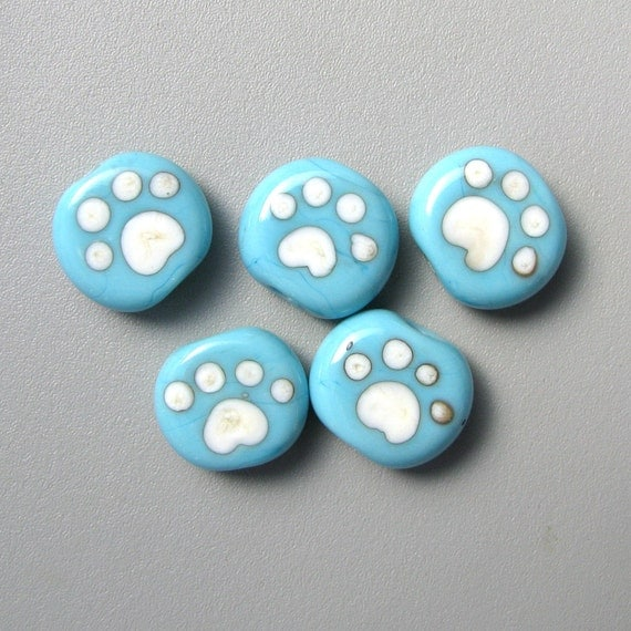 TURQUOISE TOES little blue tabs handmade lampwork glass paw print beads