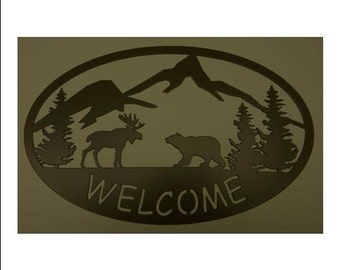 Welcome Sign - Moose and Bear