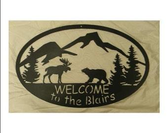 Custom Welcome Sign - Moose and Bear