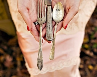Vintage Three Piece Silverware Place Setting Knife, Fork, Spoon Wedding Reception
