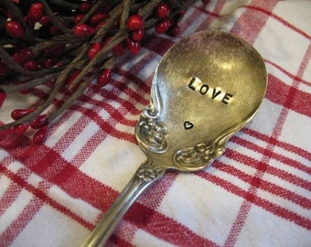 Vintage Silverware Valentine's Day LOVE Sugar Spoon