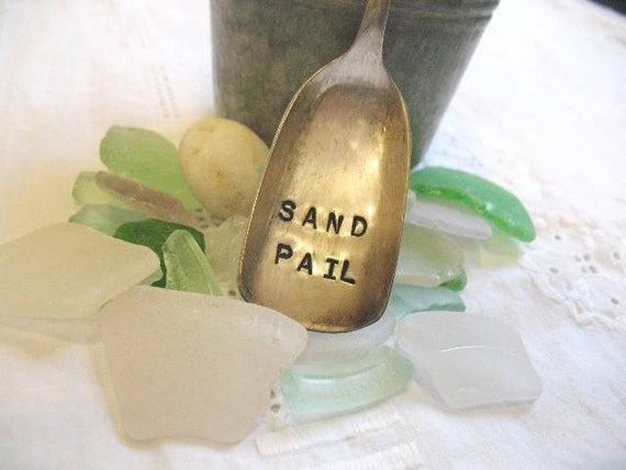 Vintage Silverware Sand Pail  Sugar Shovel Beach Decor