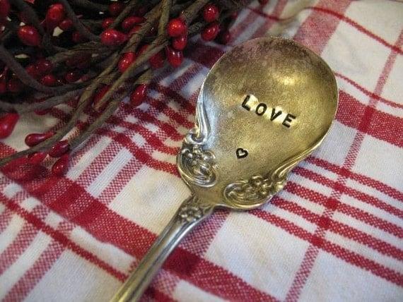 Vintage Silverware Valentine's Day LOVE Sugar Spoon