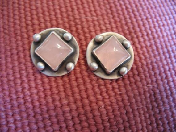 Rose Quartz and Sterling Post Earrings