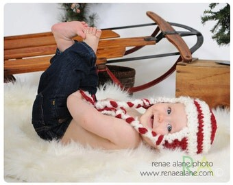 OOAK 3-  6 month Red and White Ear Flap Hat