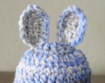 OOAK Gray and Blue Wool Bunny Rabbit Newborn Hat