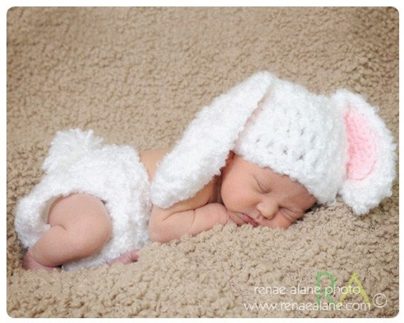 Newborn Floppy Rabbit Ear Hat and Diaper Cover Set