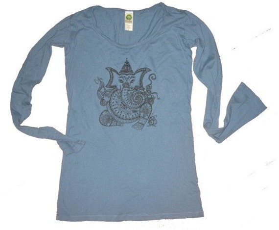 Women's Blue Ganesha Shirt M