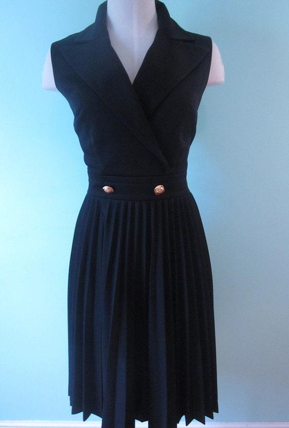 SIXTIES/Navy Blue Button Waist Pleated Dress