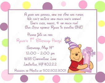 10 Winne the Pooh First Birthday Invitations with Envelopes.  Free Return Address Labels