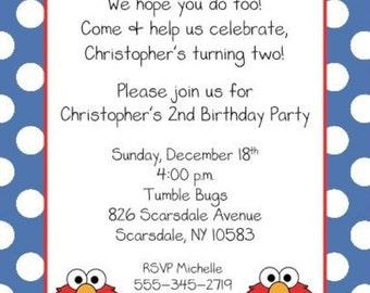 10 Elmo Birthday  Invitations with Envelopes.  Free Return Address Labels