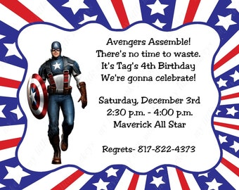 10 Captain America Invitations with Envelopes.  Free Return Address Labels
