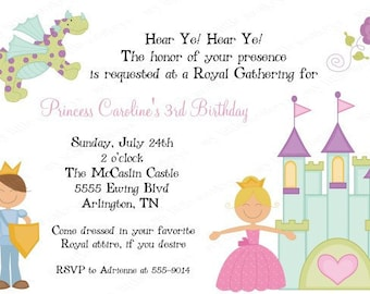 10 Princess Fairy Tale Birthday Invitations with Envelopes.  Free Return Address Labels