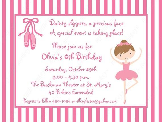 10 Ballerina Invitations with Envelopes Free Return Address