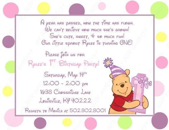 Favorito Winne 10 i Pooh primo compleanno inviti con buste. Etichette GT36