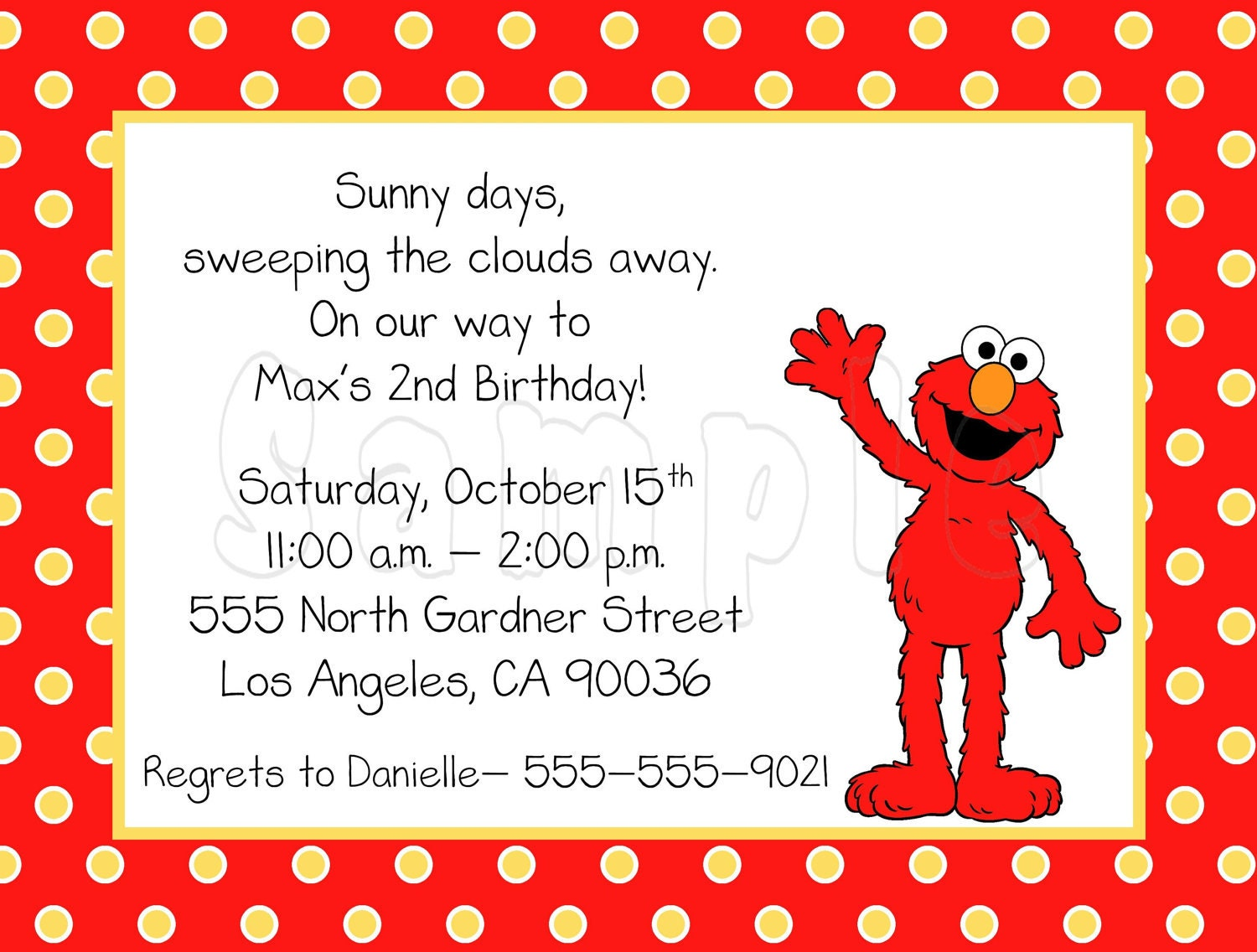 10 polka dots elmo invitations with envelopes free return for Elmo template for invitations