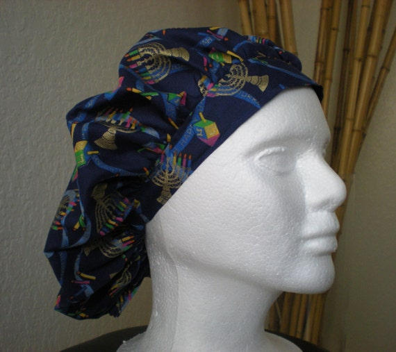Hannukah - Bouffant Tie-back Surgical Scrub Hat