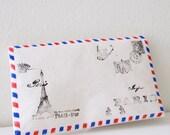 Handmade envelope clutch - Canvas fabric