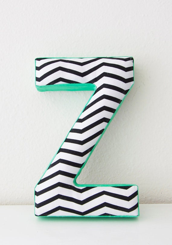 Fabric Letter Z - Chevron Pattern Highlighted