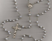 Blue Lace Agate Gemstone SS Rosary