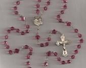 Rose Swarovski Crystal and Sterling Silver Rosary