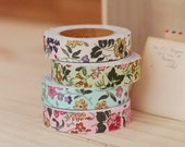 Fabric tapes vintage flower medium size 4 pcs