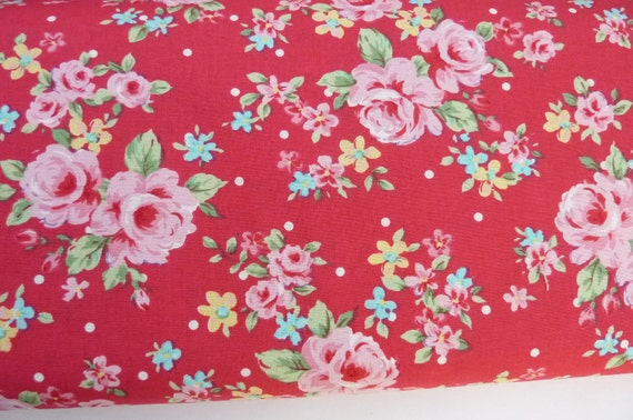 Floral collection,flower sugar fabric, red medium flower 2 yards,lecien fabric