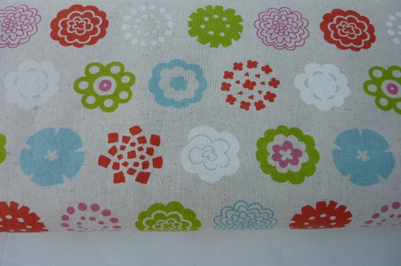 Canvas fabric , linen blend cotton ,colorful flower,japanese import fabric 1 yard