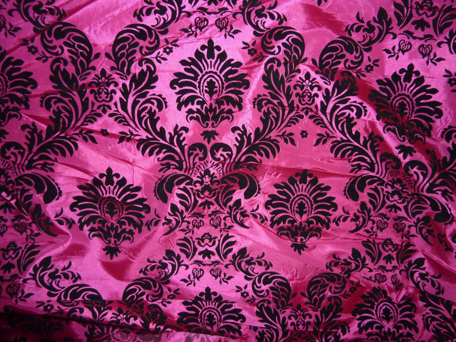 Damask Fabric HOT Pink color 4 yards