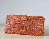 vintage Mexican tooled leather wallet