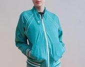 1970s track jacket / turquoise spring jacket / M