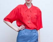 SALE - vintage SILK blouse / red Asian inspired blouse / M-L