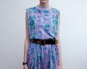 vintage cotton minidress / tribal print summer dress / L