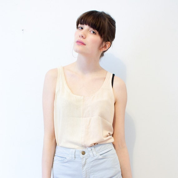 vintage pale peach and cream two-tone linen tank - S/M