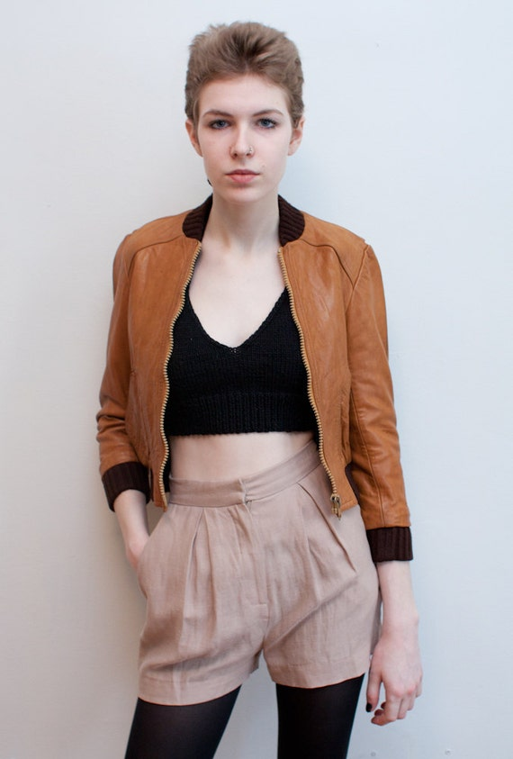 vintage leather jacket / brown leather bomber / XS
