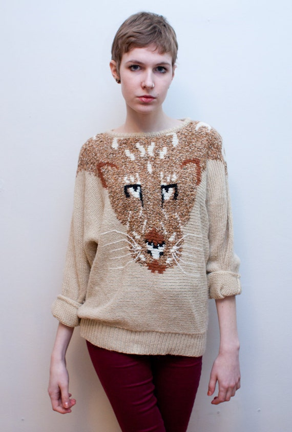 vintage COUGAR sweater / knitted cat sweater / dolman sleeves / M-L