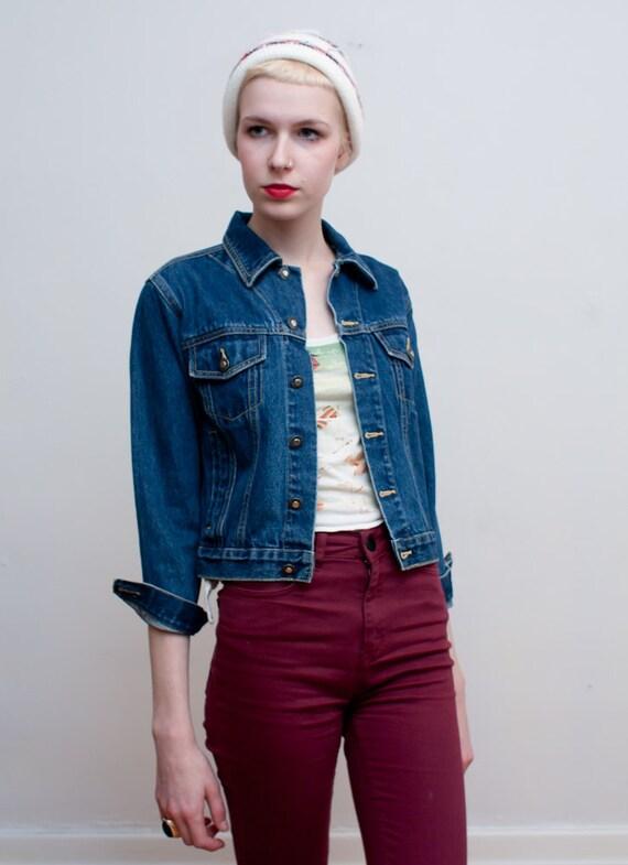 1990s jean jacket / tiny fit denim jacket / XS