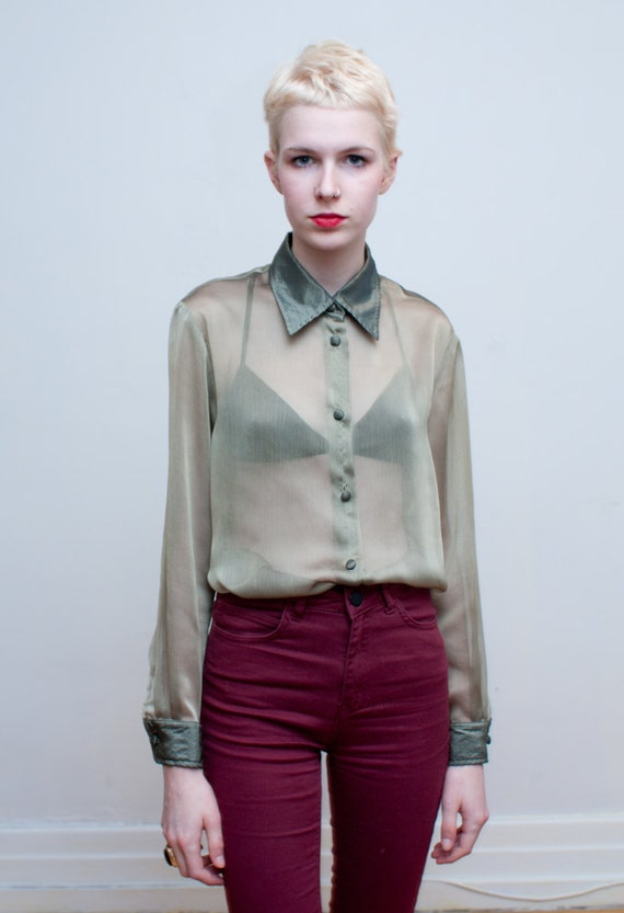 vintage sheer blouse / gold button down / M