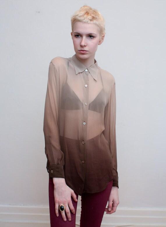 vintage SHEER OMBRE blouse / silk chiffon / M