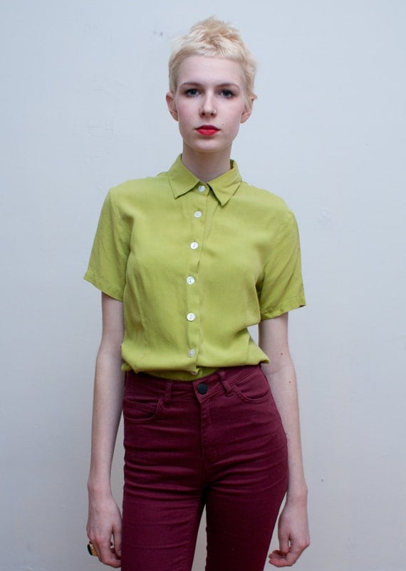vintage SILK blouse / lime green button down / S