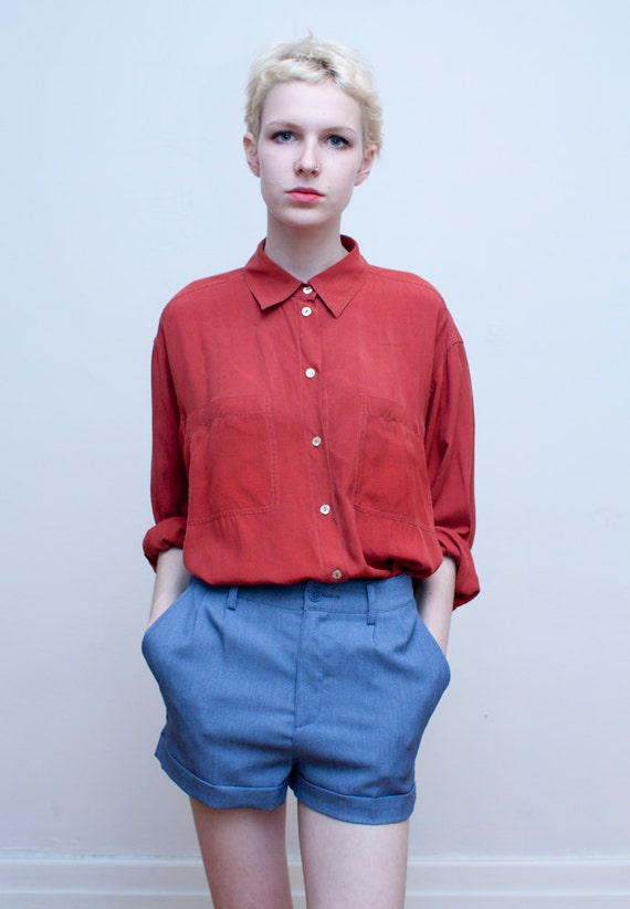 vintage SILK blouse / oversized rusty red oxford / L