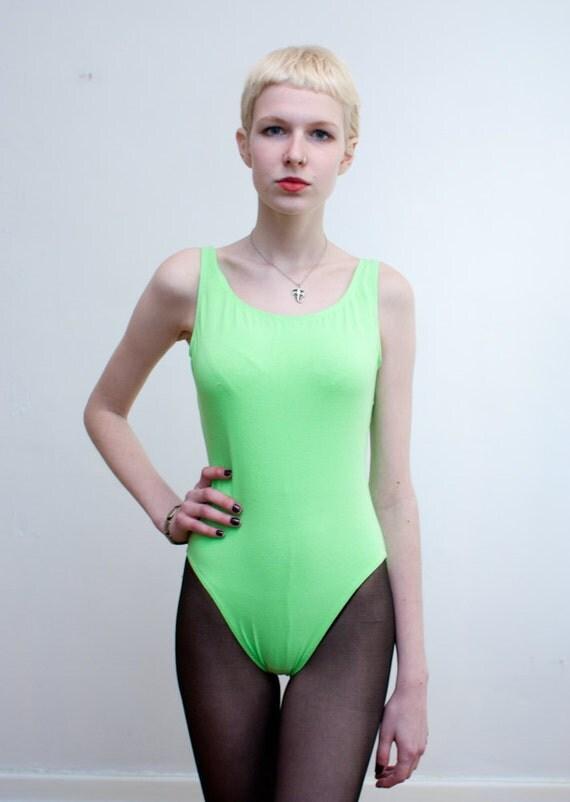 vintage NEON GREEN bodysuit / cotton leotard / M