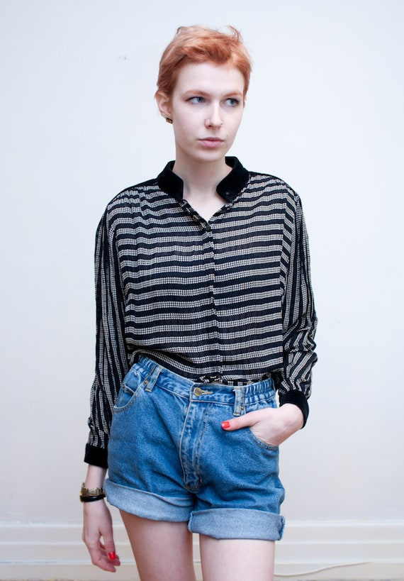 vintage chiffon blouse / houndstooth stripes / velvet collar / S-M