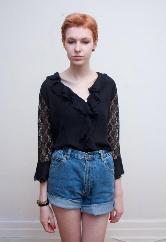 vintage black lacy blouse / silk chiffon / M