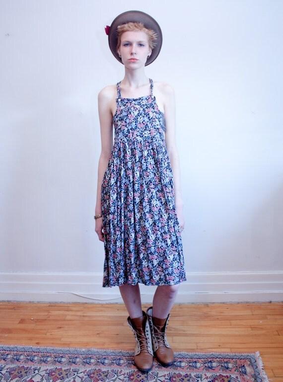 1990s floral rayon dress / apron dress / M-L