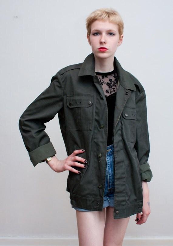 vintage army green jacket / unisex utility jacket / L