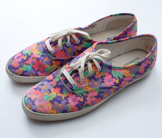 1990s floral keds / floral canvas lace up sneakers / size 10