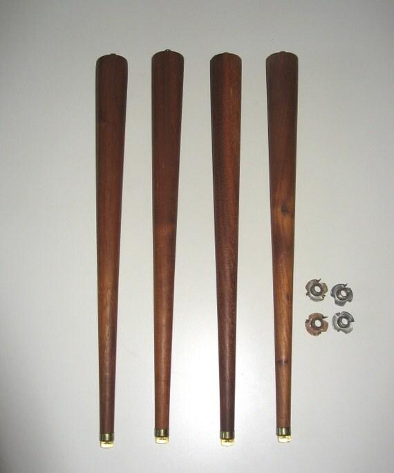 Vintage Mid-Century Modern Turned Tapered Wood Table Legs