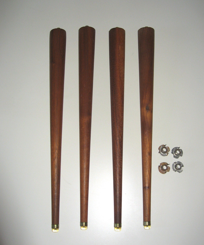 vintage mid century modern turned tapered wood table legs. Black Bedroom Furniture Sets. Home Design Ideas