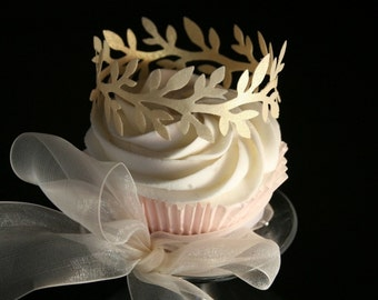 12 Wafer Laurel Wreath-Crown Cake or Cupcake toppers in Gold, Silver or Pearl